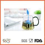 Maniglia del setaccio del foglio di Infuser del tè Ws-If040 con il coperchio del foglio del silicone della sfera d'acciaio (azzurro di cielo)