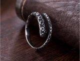 Polipo maschio dell'anello dell'argento sterlina 925 che modella retro Colorhalf aperto