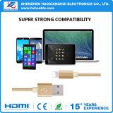 Dados de alta velocidade do USB do nylon/cabo cobrando para o telefone móvel