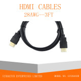 Cabo chapeado ouro do Macho-Macho HDMI do plugue
