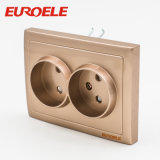 Gold Color PC 2 Gang EU Type Double Socket