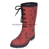 De kleurrijke MEDIO Laarzen van de Regen van de Druk van het Kalf Rubber Vrouwelijke