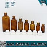 bottiglia di olio essenziale di vetro ambrata di 5ml 10ml 15ml 20ml 30ml 50ml 100m con la protezione inalterabile innocua per i bambini