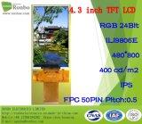 4.3 인치 IPS 480X800 RGB 50pin에 의하여 주문을 받아서 만들어지는 400CD/M2 전체가 다 보이는 LCD 위원회