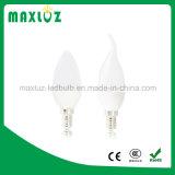 Luz de la vela de la fábrica C37 LED de la alta calidad 6 vatios