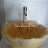 베이지색 화강암 대리석 목욕탕 세척 수채, 돌 배 둥근 물동이