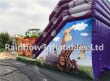 Deslizamento de selva inflável gigante Clourful Glue popular com plataforma e jogo de animais de desenho animado