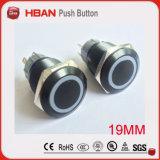 19mm Diaの黒いアルミニウム金属の押しボタンスイッチ
