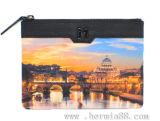 Бумажник кожи печатание цифров ландшафта с отделкой более высокого стандарта (HW250008)