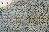 Tres colores del patrón de la plaza de chenilla jacquard tela que teje