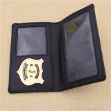Kundenspezifisches Officer Metal Police Badge mit Genuine Leather Wallet Holder