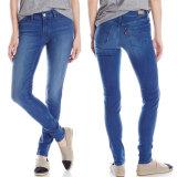 Venda Por Atacado Ladies Fashion Cotton Legging Jeans Denim Longo