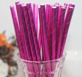 Hot Pink Weeding Decoração Foil Paper Drinking Straw