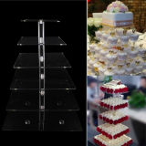 Carrinho de indicador acrílico de venda quente do bolo para o banquete de casamento