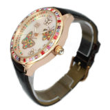 Luxus CNC Inlaid Stones Wristwatch für Lady Lw-09