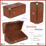 Luxe Genuine Leather Wine Box voor 375ml Bottle met EVA Foam