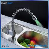 Le ressort de l'eau chaude et froide DEL retirent le robinet de bassin de cuisine