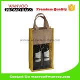 ワインのためのPVC Windowsが付いているカスタマイズされた卸し売りFoldableジュートの戦闘状況表示板のショッピング・バッグ