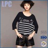T-shirt 2016 rayé de chemise de coton de mode d'OEM long pour des dames
