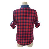 (L7019) - blusa longa ocasional da luva das senhoras na camisa da verificação