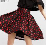 Herbst-neue Frauen-hohe Taille umsäumt Marke im Europa-und Amerika-Temperament, das auf eine große Blumenfußleiste ein Wort-Ballettröckchen gesetzt wird