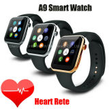 Monitor de ritmo cardíaco de alta qualidade A9 Smart Watch 3G Bluetooth Cell Phone Watch