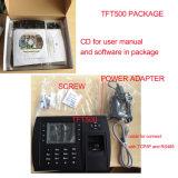 De biometrische Opname van de Tijd van de Vingerafdruk met TCP/IP/of USB of Module WiFi (TFT500/WiFi)