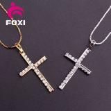 Heilige Jesus aan de Dwars Zuivere Goud Geplateerde Halsband van de Juwelen van CZ