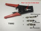 Hulpmiddel van de Compressie van de Kabel van de Schakelaars van kabeltelevisie F/BNC/RCA het Waterdichte (T5082)