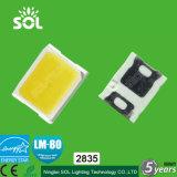 빨강 또는 호박색 또는 파랗거나 녹색 또는 백색 0.2W 및 0.5W 2835 SMD LED