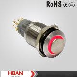 IP67高い円形のリングによって照らされる押しボタンスイッチ(16mm dia)