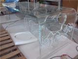 El vector de té creativo de encargo del salón, vector de la recepción, vector de té del ocio de la manera, tabula el vector de té cristalino transparente de acrílico