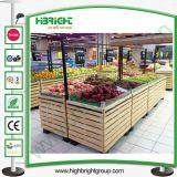 슈퍼마켓 나무로 되는 야채와 과일 진열대