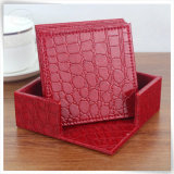 Seule S/4 unité centrale Leather Crocodile Beer Cup Tea Coaster pour Decoration