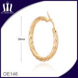 Nuevos pendientes del aro del oro de la dimensión de una variable de la cuerda de la manera