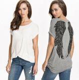 Plusgrößen-Baumwolreizvolle Qualitäts-Form gedrucktes T-Shirt 100%