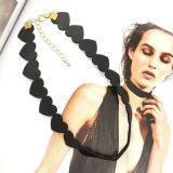 粋な方法宝石類の美しい中心の黒の革チョークバルブのネックレス