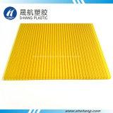 Feuille jumelle jaune givrée de toiture de cavité de polycarbonate de mur