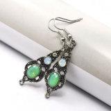 녹색 모조 다이아몬드 여자를 위한 투명한 수정같은 하락 귀걸이