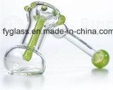 tubulação de Bubblar do vidro de mão 7inch com mármores cor-de-rosa e verdes da cor de Slyme