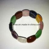 Bracelete frisado Amethyst de cristal natural da cor da mistura da pedra Semi preciosa