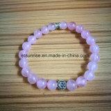 Braccialetto in rilievo di cristallo naturale del quarzo di Rosa della pietra semi preziosa