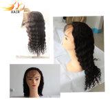 Peruca 100% profunda do cabelo humano da parte dianteira do laço do cabelo de Remy da onda