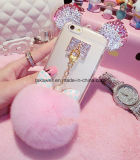iPhone 5/5s/6/6s/6plus Mobile Cover를 위한 2016 새로운 Luxury Crystal Mickey Head Bowknot Fur Ball Soft TPU Cell Phone Case