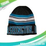 青いジャカードアクリルの編まれた冬の可逆帽子の帽子(084)