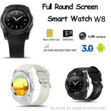 Full View Round Screen Bluetooth Mobile Watch Phone com slot para cartão SIM (W8)