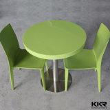 Redonda de pedra artificial jantar do restaurante com cadeiras