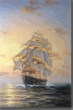 Peinture d'art du bateau de Saling dans le coucher du soleil