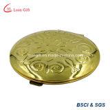 Espelho gravado redondo do cosmético do ouro