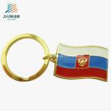 De bovenkant verkoopt Speld Keychain van de Vlag van de Douane van het Email van de Legering de Goud In reliëf gemaakte Zachte Russische